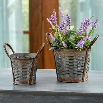 Galvanized Garden Basket Set Indoor/Outdoor Rustic Vintage Home Decor