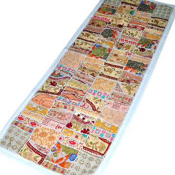 "60x20"" Table Cloth runner, ethnic gypsy wall Hanging Indian bohemian Wall Hanging, Indian home decor, applique patchwork tapestry wall art"