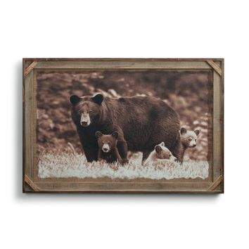Black Bear Family Barnwood Gallery Art