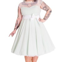 Hell Bunny Plus Wonderland Mint Green Gingham Check White Bow Belt Party Dress