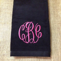 Monogrammed Golf Towel Available in Black, White or Navy
