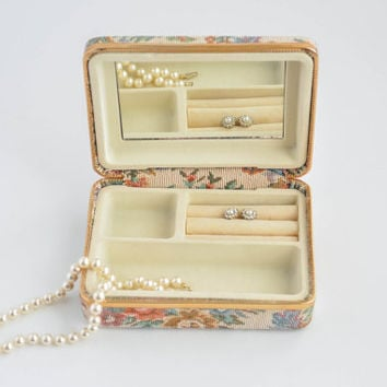 Vintage Jewelry Box - Floral Hard Case with Mirror