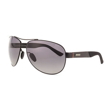 Stainless-Steel Aviator Sunglasses, Black - Gucci