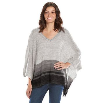 Sonoma Life + Style Striped Sweater Poncho   Women's Size: