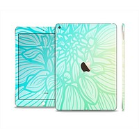 The Faded Blue & Green Subtle Floral Skin Set for the Apple iPad Pro