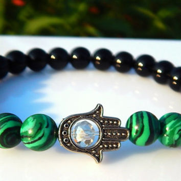 Men's Malachite Bracelet, Men's Black Onyx Bracelet, Men's Gemstone Bracelet, Gift for Men, Protection Hamsa Hand Mens Bracelet