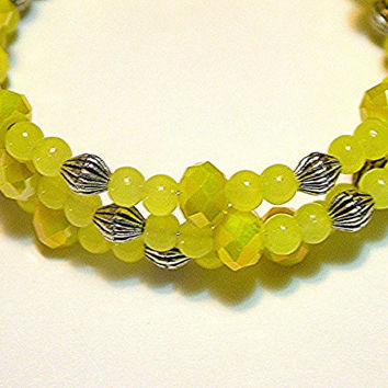 Wrap/Cuff Memory Wire 3 Strand Braclet with Yellow Jade and Czech Luster Beads, Handmade