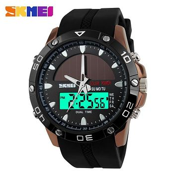 New Energy Solar Watch Men Digital Sports LED Men Watches Solar Dual Display Watches Men Watch Sports Military Wriswatch Relojes