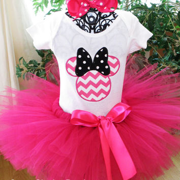 Hot Pink Chevron Minnie Mouse Tutu Birthday Outfit - Personalized Baby's 1st Birthday Tutu Outfit