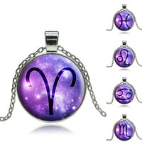 Glass Cabochon Zodiac Necklace