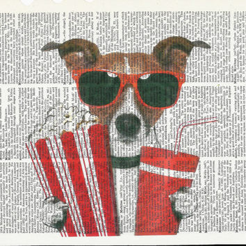 Dictionary Art Print Cute Dog  with Soda & Popcorn on Upcycle Vintage Page Book Print Art Print Dictionary Print Collage Print