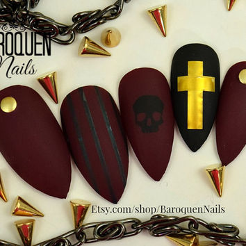 "Matte Burgundy Maroon Fake Nails Goth Skull Nail Art ""Coventry"" Made To Order DIY Gel Nails 