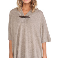 Autumn Cashmere Buckle Poncho in Taupe