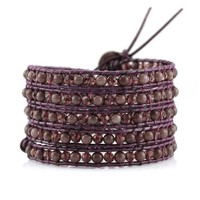 Burgundy Aventurine and Crystals on Burgundy Leather Wrap Bracelet