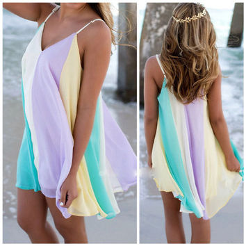 Summer Style Deep V Wrap Chiffon Swimwear Bikini Cover Up Sarong Beach Dress Color Contrast Chiffon Cover Ups 2907