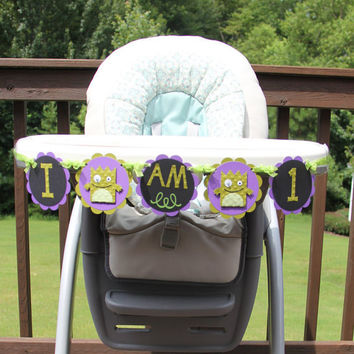 Little Monster Party Banner 'I Am 1' 1st Birthday High Chair Banner
