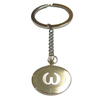 Gold Toned Etched Oval Greek Lowercase Letter Omega Pendant Keychain