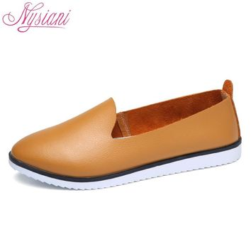 Split Leather Oxford Flat Shoes For Women New Spring Slip-on Round Toe College Casual Fashion Ladies Lazy Loafers Nysiani
