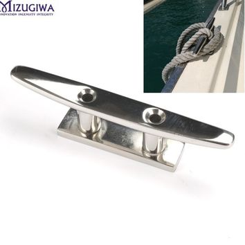 "2PC 316 Stainless Steel Deck Boat Cleats Marine Heavy Duty Mooring Rope Tie 4"" FIT ROPE SAILING Flat Top 2 Hole Boat Deck Cleat"