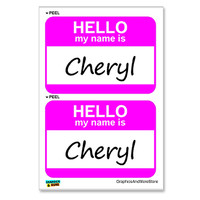 Cheryl Hello My Name Is - Sheet of 2 Stickers