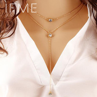 Summer Style Fashion Jewelry Double Link Chain Necklace Alloy Gold Color Crystal Pendant Necklaces For Women