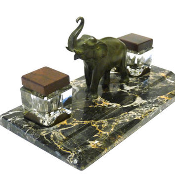 French ART-DECO inkwell.Spelter elephant on marble.Exotic wood.