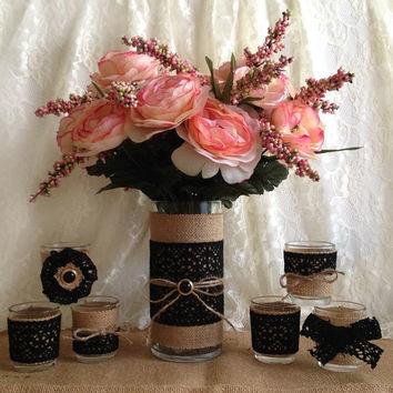 rustic burlap and black cotton lace covered vase and votive tea candles, wedding, bridal shower, party table centerpieces