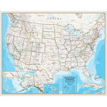 Laminated Wall Map United States Hemispheres Contemporary