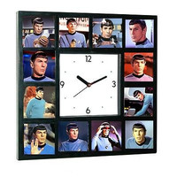 Limited Edition Glow In The Dark  Star Trek faces of Leonard Nimoy Spock logical Clock with 12 pictures