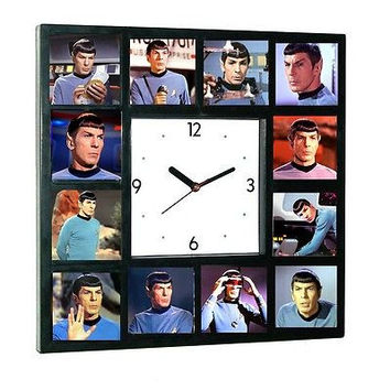 Star Trek faces of Leonard Nimoy Spock logical Clock with 12 pictures