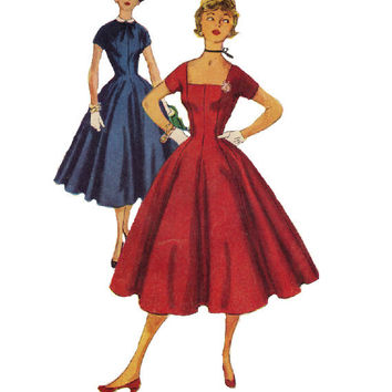 50s Simplicity Sewing Pattern Vintage Party Dress Fitted Bodice Tea Dress Full Circle Skirt Rockabilly Style Short Sleeves Bust 29