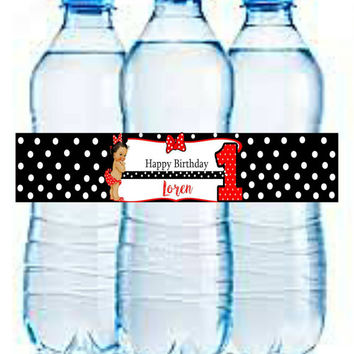 Minnie customized water bottle labels (digital download) with name!