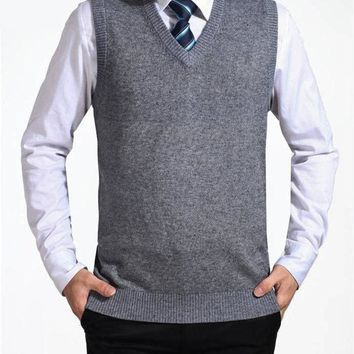 New Arrival Solid Color Sweater Vest Men Cashmere Sweaters Wool Pullover Men Brand V-Neck Sleeveless Jersey Hombre