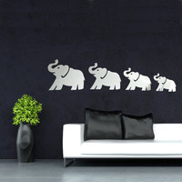 DIY 3D  Four Cute Elephants Mirror Wall Stickers  Art Decal Home Decor