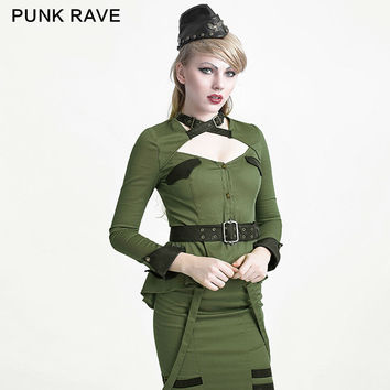PUNK RAVE UNIFORM SHIRT TOP ,LONG SLEEVE,MILITARY STYLE,COSPLAY,VISUAL KEI