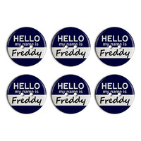 Freddy Hello My Name Is Plastic Resin Button Set of 6
