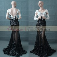 DL62964 black white long sleeve lace evening gown made in China, View long sleeve lace evening gown, CHOIYES evening gown Product Details from Chaozhou Choiyes Evening Dress Co., Ltd. on Alibaba.com