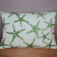 18x12 Green Starfish Beach Theme Decorative Lumbar Pillow Cover - Ships Within 3 Days