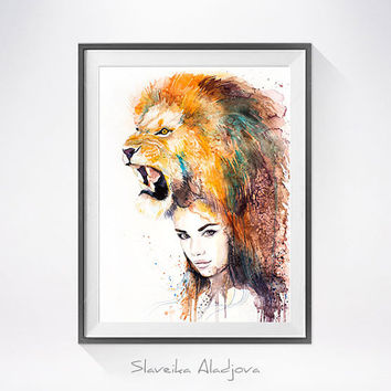 Lion Girl watercolor painting print, Fashion Illustration, Lion art, Woman art, Girl Illustration, watercolour, Girl art, art print