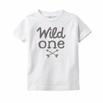 First Birthday Shirt - White or Heather - Boys or Unisex tee -  Wild One Year Old shirt with Arrows - First Birthday Arrow Tee -  1 Year Old