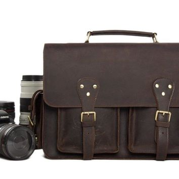 BLUESEBE MEN HANDMADE VINTAGE LEATHER SATCHEL DSLR CAMERA BAG 7145C