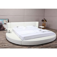 Queen size Modern Round Platform Bed with LED Headboard in White Faux Leather