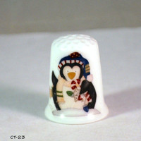 Collectible Thimbles, Handmade Thimbles, Thimble Collection, Holiday Thimble, Christmas Thimble, Penguin Thimble