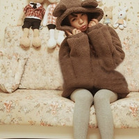 2015 Korean version of the new winter clothes plush bear ears hooded cardigan sweater coat female = 1828319044