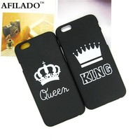Fashion Brand King Queen Hard Plastic Ultra Thin Back Covers for Apple iPhone 6 6s Luxury Crown Slim Phone Case Shell Coque