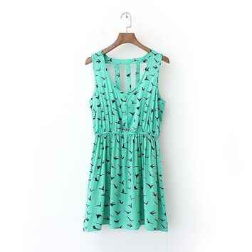 Summer Print Sleeveless Vest Dress One Piece Dress [6048476993]
