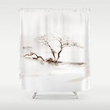 Scots Pine Sepia Shower Curtain by Gréta Thórsdóttir #gotland #BalticSea #waterfront #black #white #tree #mist #bathroom