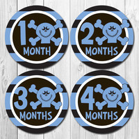 Skull & Crossbones Baby Stickers, Monthly Baby Stickers Skull, Baby Boy Month, Boy Monthly Stickers, Milestone Stickers Boy