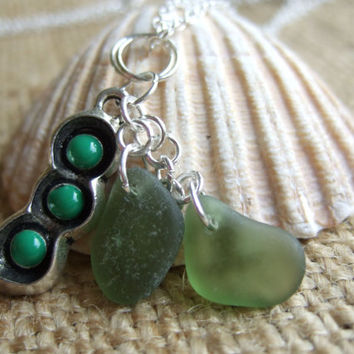 Two peas in a pod...Scottish green sea glass and enamel pea pod pendant, like two peas in a pod pendant, green sea glass peas and pea pod
