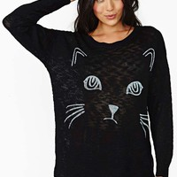 Reverse Sad Kitty Knit Top